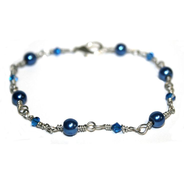Wire Wrapped Links of Blue Bracelet by DornanDesigns
