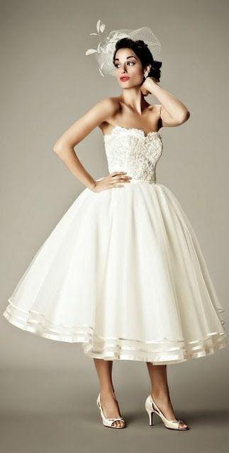 Tea length vintage wedding dress Looks like my mom's wedding dress= Sherry