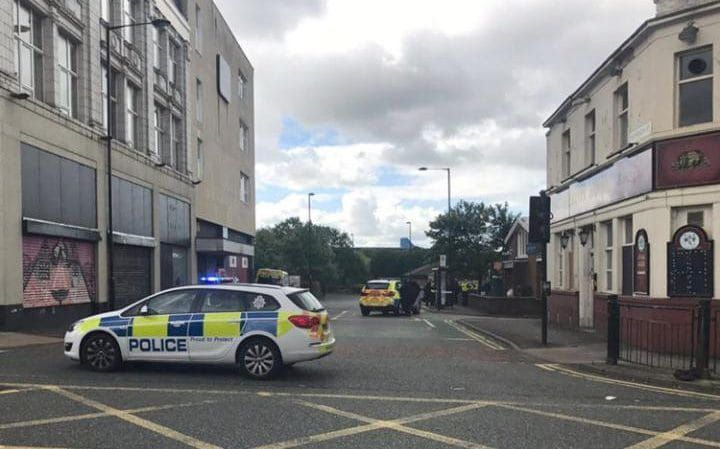 6/9/17 Police at the Job Centre Plus where a man armed with a knife is holding staff hostage