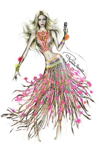Shakira belly dancing costume designed by Roberto Cavalli
