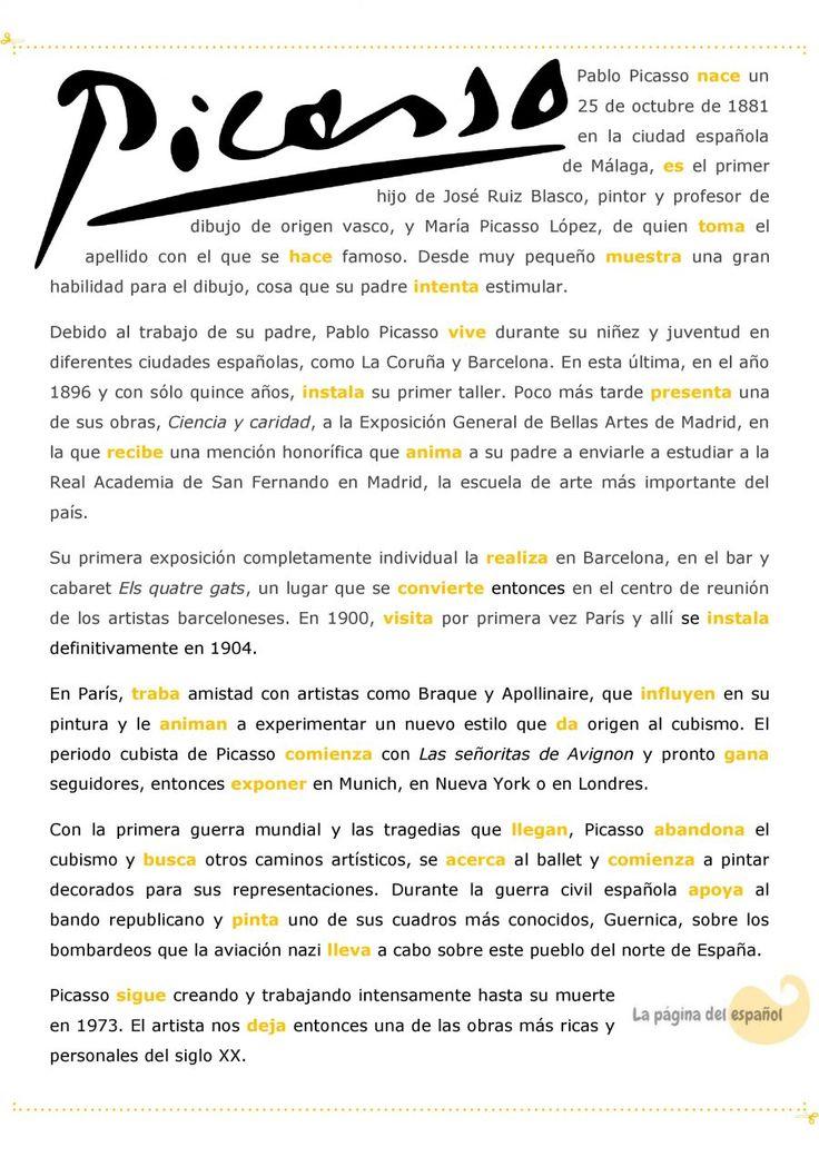 Una biografía de Picasso para practicar el pretérito indefinido / La página del…