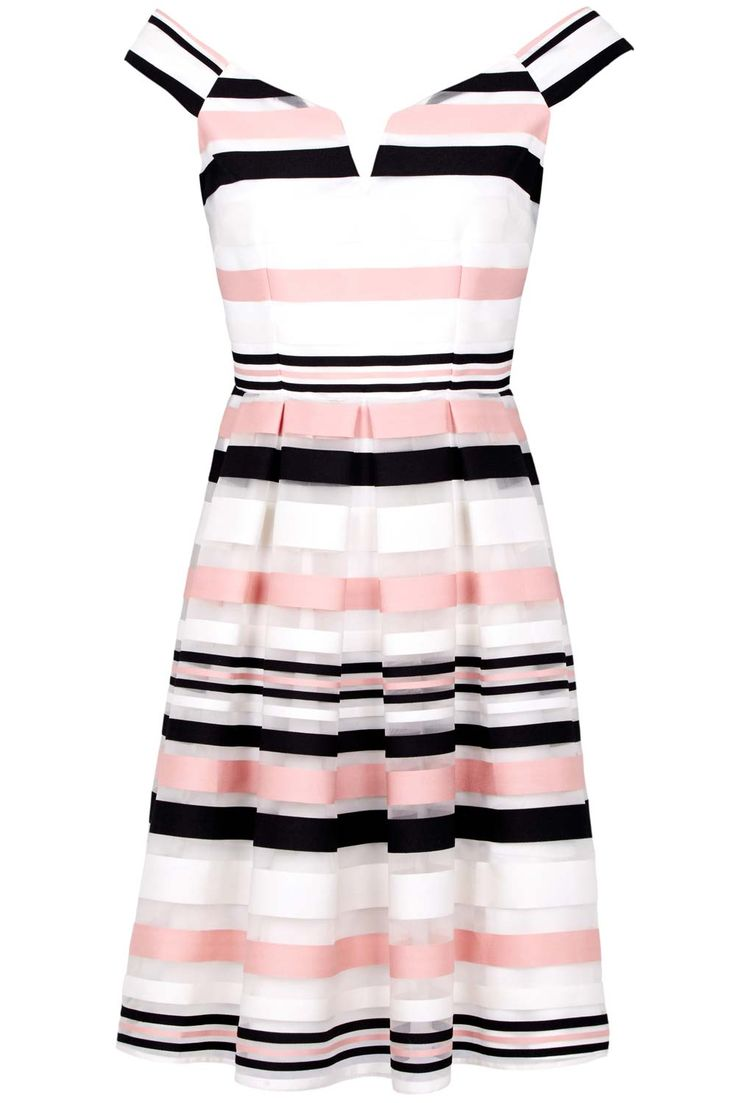 For a fun and quirky bridesmaid look, why not try your girls in this striped skater dress from Kaleidoscope? The bold colours and block pattern gives the gown a stand-out feel and the neckline is so feminine. Pair with black courts for the ultimate bridesmaid look.