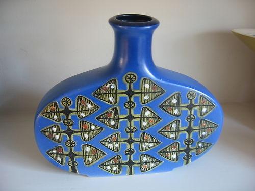 RARE Kupittaan Savi Finland Retro 1960s Blue Studio Vase Scandinavian Eames