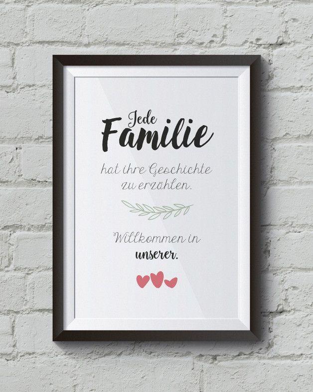 """""""Geschichte"""" 3 Herzen Kunstdruck, Familienposter  »Jede Familie hat ihre Geschichte zu erzählen. Willkommen in unserer.«  Unser Poster:  Familienposter mit Schnörkel und schönem..."""