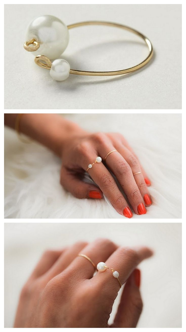 DIY Antrhopologie Inpsired Wire Delicate Double Pearl Ring Tutorial from Swellmayde. For Swellmayde's single pearl ring go here. Top Photo: $38 Antrhopologie Pearl Finale Ring here, All Other Photos: DIY by Swellmayde. For more delicate jewelry DIYs or all kinds go here:truebluemeandyou.tumblr.com/tagged/delicate