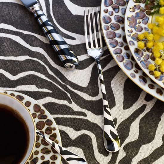 Safari place setting table with tiger and zebra prints - I would soooo do this, I love to decorate with things that make me smile