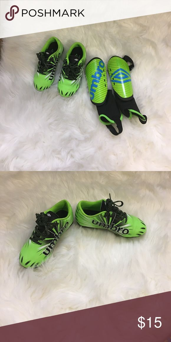 Toddler Soccer Cleats with Shin Guards Umbro toddler soccer cleats size 9 with XXS shin guards used for a 3 year old. Hardly used. Shoes Sneakers