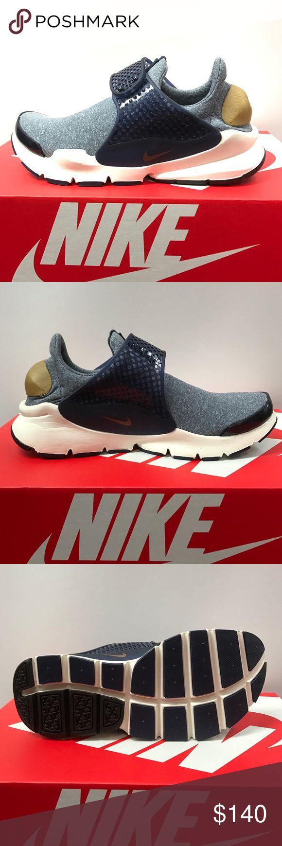 Women's Nike Sock Dart SE Midnight Navy/ Golden Beige Nike Shoes Sneakers