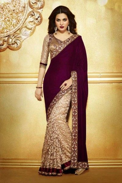 Cream and Magenta Velvet,Net and Brasso Saree with Embroidery and Lace Work