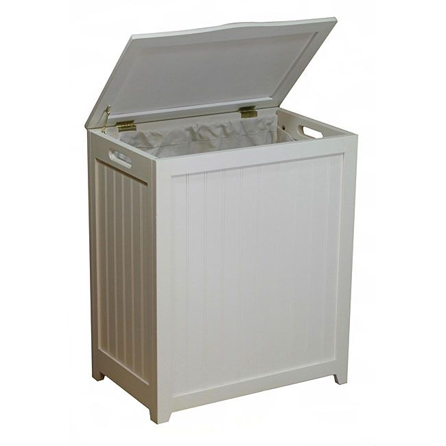 Launder in style with this white wooden laundry hamper. The wash basket is lined with material to protect your clothes, and two hand grips make it easy to carry the hamper. The lid comes with rubber bumpers to prevent damage from banging it shut.