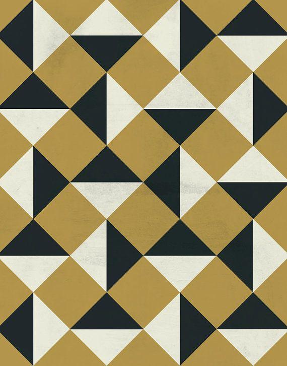 Gold and Black Bold Vintage Geometric Pattern by LiveLoveStudio