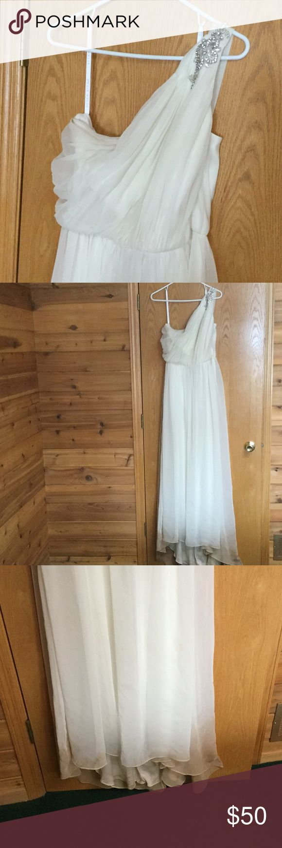 One shoulder wedding gown Beautiful wedding gown, off-white, simple and lightweight, I used as my second dress - worn once for a few hours, gorgeous crystal details on shoulder, very comfortable and flattering. Needs to be cleaned - bottom. See pictures after six bride Dresses Wedding