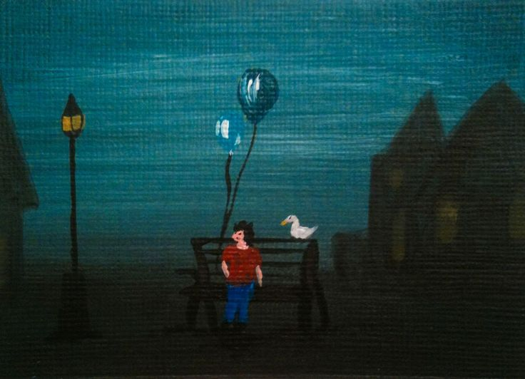 ACEO original kid on a bench with balloons a street light and duck #Miniature