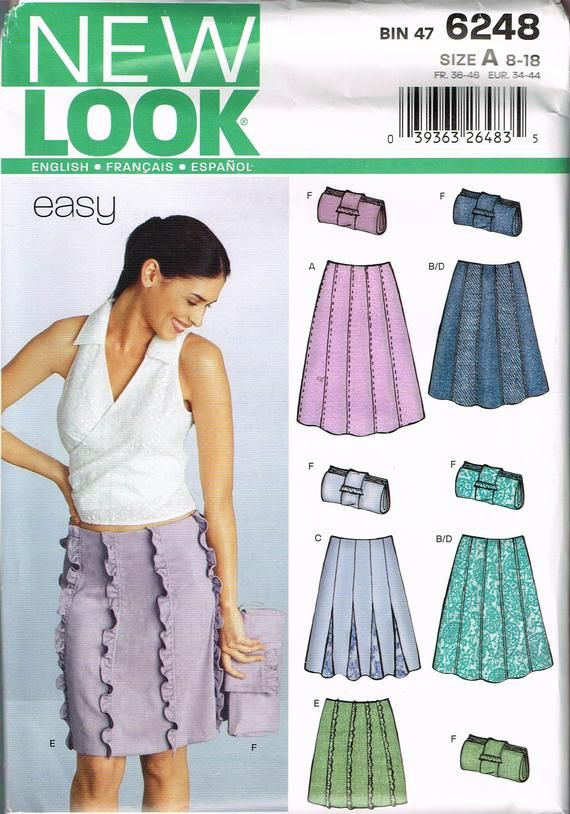Size 8-18 Misses Easy A Line Knee Length Skirt Or Short Godet Skirt Sewing Pattern – New Look 6248