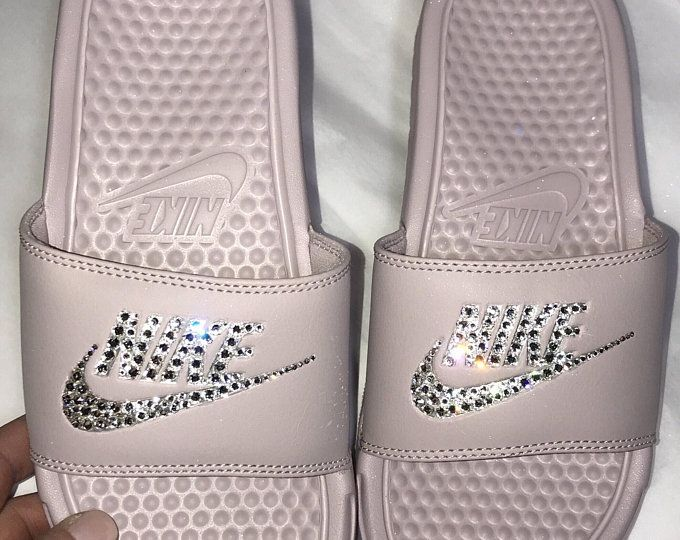 Women s Nike Benassi JDI Slide in all Particle Pink with Swarovski crystal  details db473981a86b