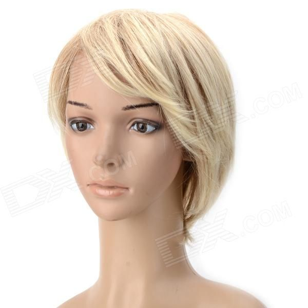Color: Buff; Brand: N/A; Model: wm91; Material: Synthetic; Quantity: 1 Piece; Shade Of Color: Yellow; Length: 35 cm; Wig Weight: 89 G; Virgin Hair: No; Style: short; Shapes of face : all; Bang Type: Side; Bang Length: 8 cm; Compatible Circumference: Average; Lace Wig Type: Capless; Hair Grade: 1; Certification: none; Other Features: none; Packing List: 1 x Wig; http://j.mp/1ljUrKX