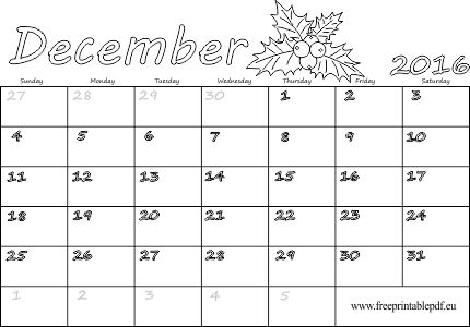 December 2016 Calendar To Print