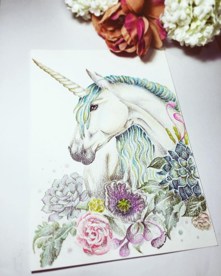 Taraaaan !  #illustration of #unicorn // #banners #prismacolor #coloring #drawing #painting #pastelcolor #animalsillustrations #magic