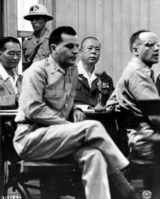 Japanese General Tomoyuki Yamashita (1885-1946) in the courtroom in Manila for the trial of Japanese war criminals.