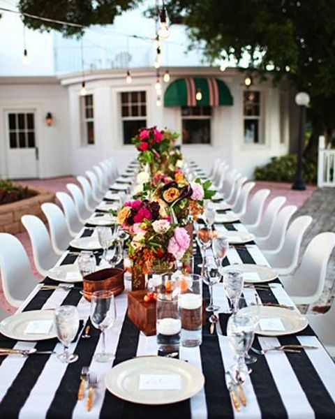 Wedding Tablescape: Striped Tablecloth