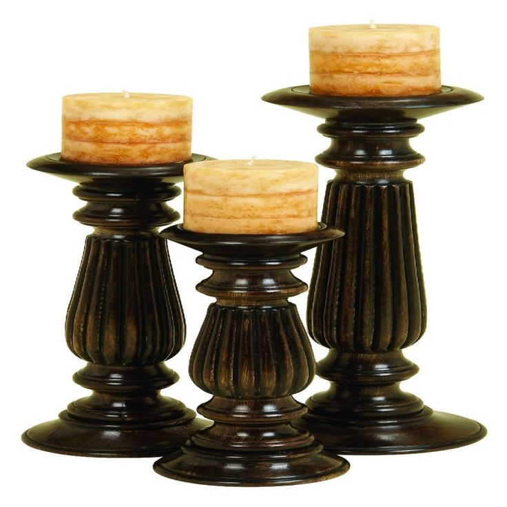 DecMode Traditional Candle Holder - Set of 3 - 51452