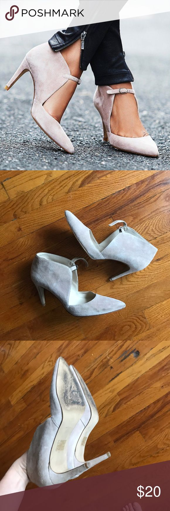 Free People Cerow Heel size 39 in blush Worn 2x only. Great for formal wear, bridesmaids dresses. Color is not showing correctly bc it's overcast today- a bit pinker in person. 3.5 in heel, blush colored suede, pointy toe with ankle strap. size 39 but fits like an 8. Free People Shoes Heels