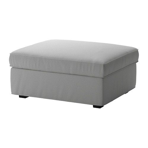 IKEA - KIVIK, Cover for footstool with storage, Orrsta light gray, , The cover is easy to keep clean as it is removable and can be machine washed.The durable cotton and polyester cover is yarn dyed to create an attractive two-tone effect.