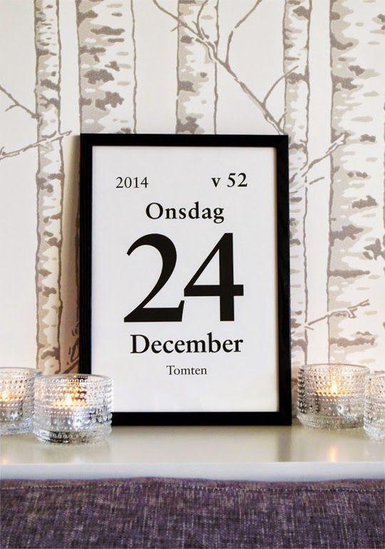 Gratis juligt kalenderdagblocksblad att printa ut! :) (Tapeten Karelia från Duro, Kastehelmi ljuslyktor från Iittala)