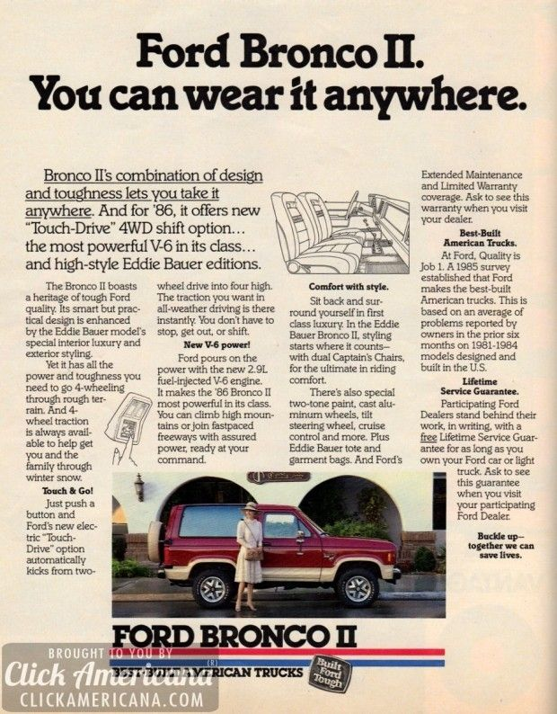 Ford Bronco II. You can wear it anywhere. (1986)