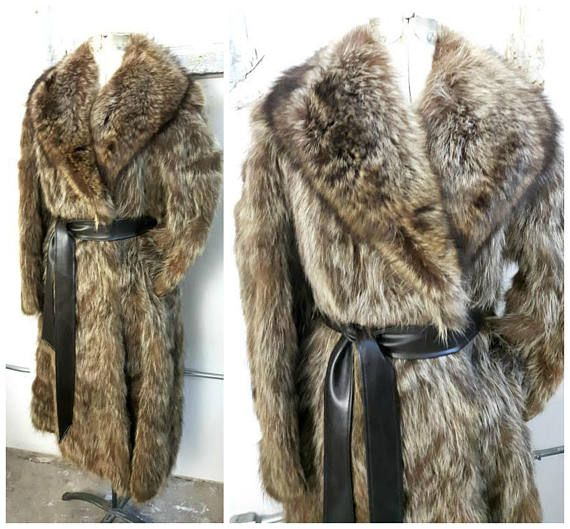 Vintage Belted Coyote and Raccoon Fur Coat