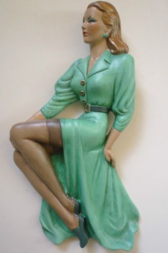30S/40S STYLE PIN UP GLAMOUR GIRL WALL PLAQUE FIGURE -STOCKINGS ADVERT (please follow minkshmink on pinterest)