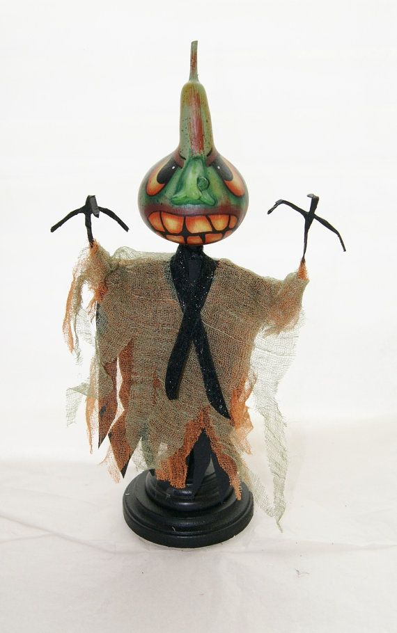 Gourd Halloween Spooky Swamp Creature The Thing Hand Painted