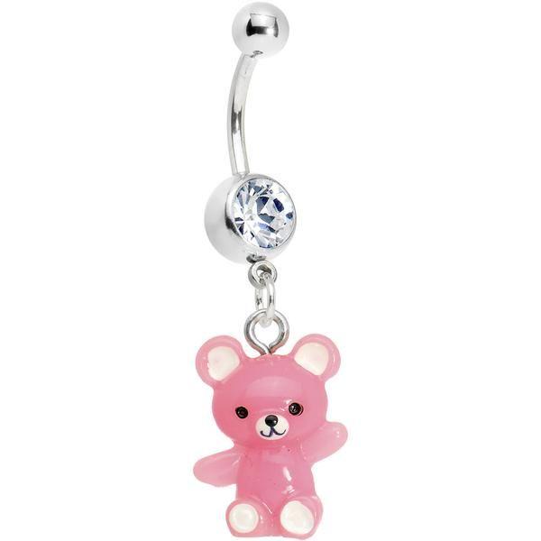 BodyJewelryOnline Teddy Bear Belly Ring with Pink Cz Gems