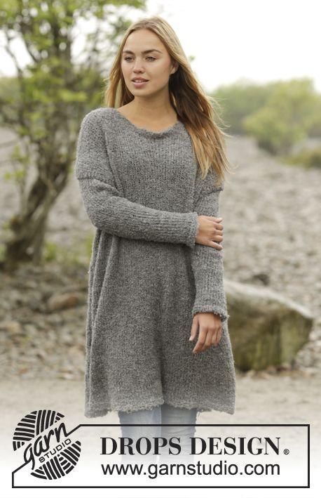 Strikket DROPS lang genser i Alpaca Bouclé med splitt i sidene. Str S - XXXL. Gratis oppskrifter fra DROPS Design.