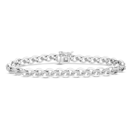 Diamond Bracelet 1 Ct Tw Round Sterling Silver Diamond Bracelet Designs Fashion Bracelets