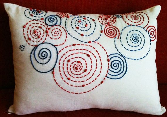 I love this embroidered pillow! #pillow #embroidery #etsy