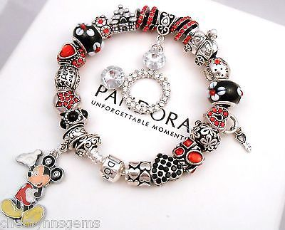 Authentic Pandora Silver Charm Bracelet with European Charm Disney Mickey Mouse…