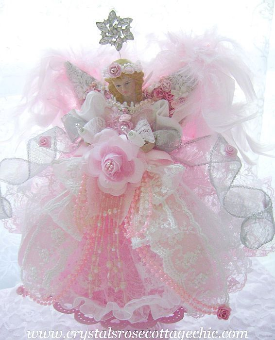 Shabby Chic Pink Princess Angel Christmas Tree Topper