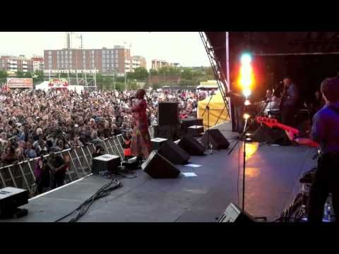 Grammy winner Angelique Kidjo (Legend/Benin) dancing on Senamou at the BT River of Music for the 2012 Olympic Games London