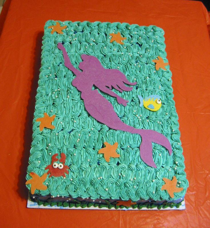 Kleine Meerjungfrau-Torte. Blechkuchen. Meerjungfrau Silhouette   – kenzies b day