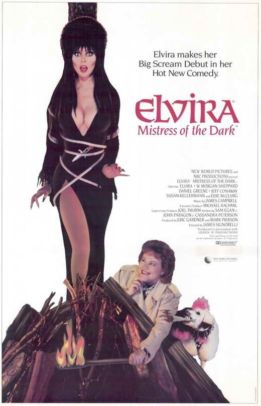 Elvira, Mistress Of The Dark (1988) Elvira busts out in her outrageously funny feature film debut! When her great aunt dies, famed horror hostess Elvira heads for the uptight New England town of Falwe