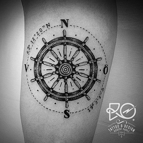 I have finally found a mash up of the compass and ship wheel! Using coordinates from where my family is from, nautical for finding my way back home, and the ship wheel for all the deep sea fishing trips