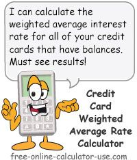 Credit Card Interest Rate Calculator for Calculating Weighted Average APR.