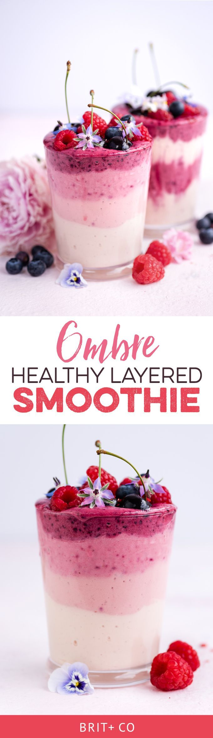 This Layered Berry Ombre Smoothie Is Almost Too Pretty to Drink via Brit + Co
