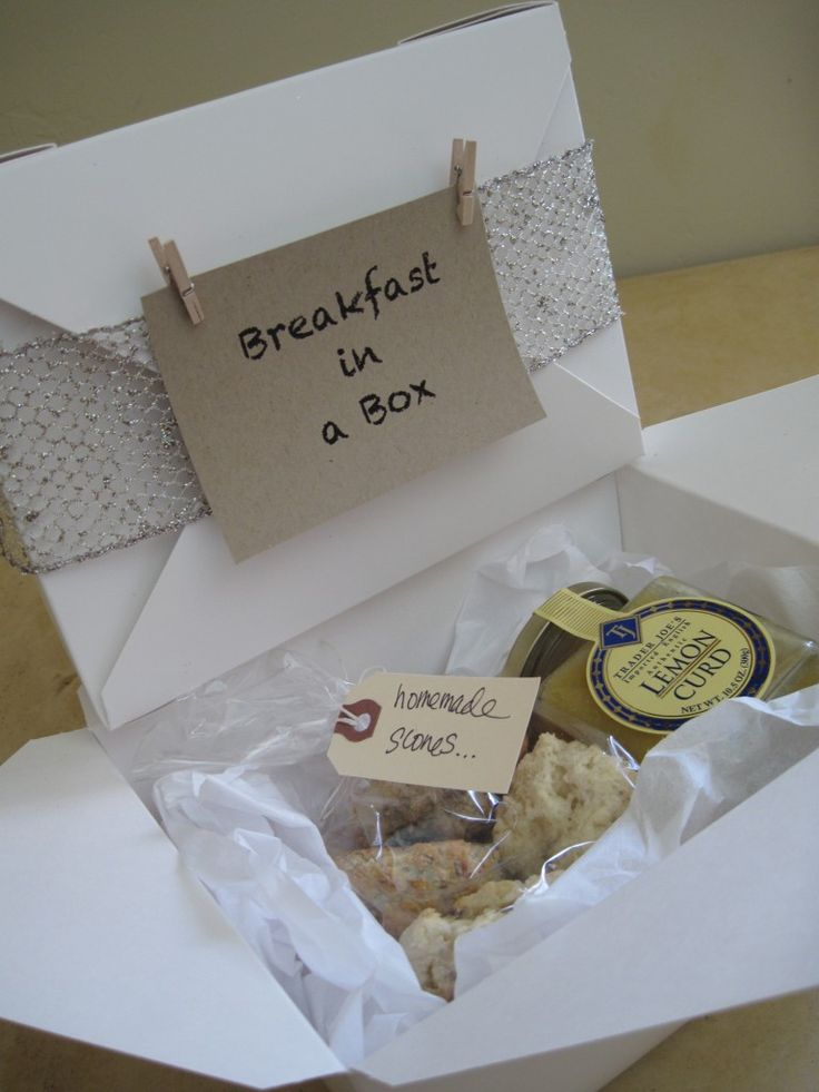breakfast in a box ... what an idea: Teacher Appreciation, Gifts Ideas, Guest Gifts, Care Packaging, Home Gifts, Great Gifts, New Baby, Cocktails Parties, Hostess Gifts
