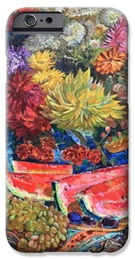 WATERMELON SYMPHONY by MAYA GUSARINA.  Belongs to the galery RUSSIAN ARTISTS NEW WAVE.   Watermelon Symphony is the essence of the joy of being.  Red watermelon chunks, like a melody written in C major, creating a mood of life celebration.  #RussianArtistsNewWave  #MayaGusarina #StillLife #HighEndArt #OriginalArt #OriginalArtForSale #Flowers #WaterMelon #LifeCelebration #Colorful #ArtForSale #ArtForHome #Painting #Autumn #Abundance #iPhoneCases #iPhone…