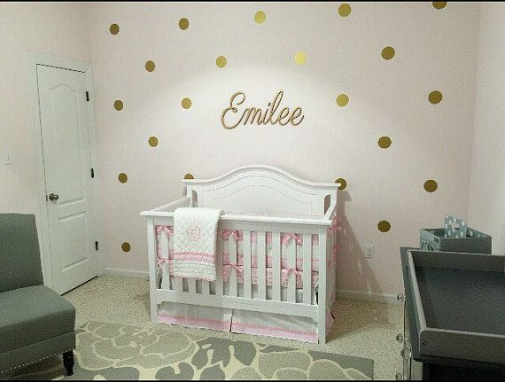 Gold nursery- gold polka dots decals-wall polka dot wall decals girl bedroom toddlers baby girl nursery gold and pink walls Gold decals