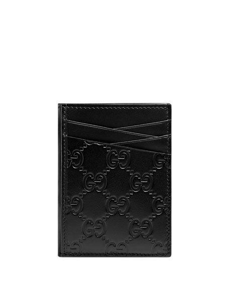 94f2fa12f8c771 GUCCI MEN'S GG SIGNATURE LEATHER CARD CASE. #gucci #bags #leather ...