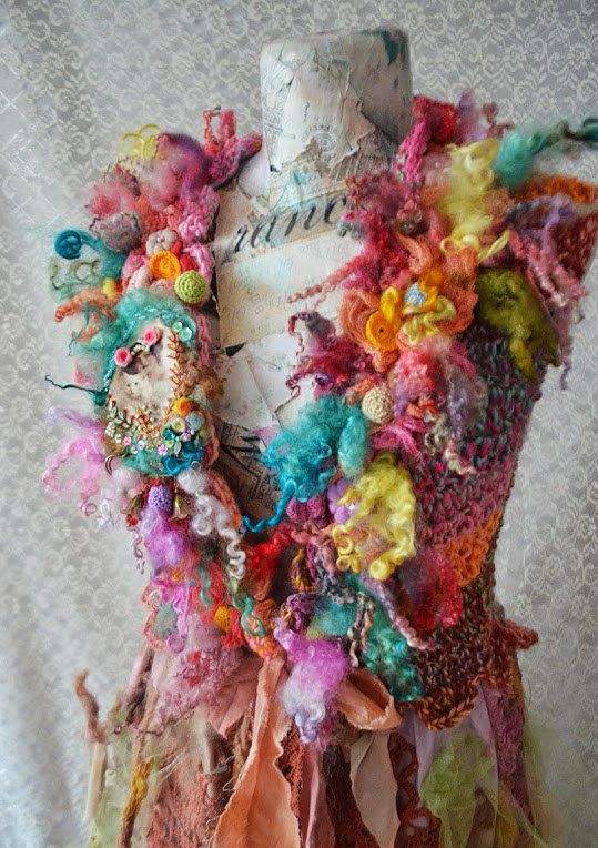 Romantic Woman vest , fairy,gypsy,romantic ruffle,with flowers ,crocheted woman vest with applications  and brooch Cat Love