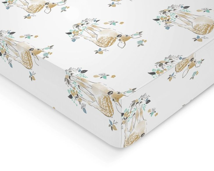 Crib Sheet - - Rustic Woodland Fawn Deer - - Fitted Crib Sheet- Aspen Blue Crib Sheet- Crib Bedding - Nursery Bedding - Baby Bedding. How perfect would this woodland deer fawn print be to any woodland themed nursery, or the perfect baby shower gift! How rustic and perfect for your little blossom! All crib sheets and changing pad covers are fitted with elastic all the around for a secure fit and fit standard size mattresses. Handmade with cotton material. Also keep in mind that all…